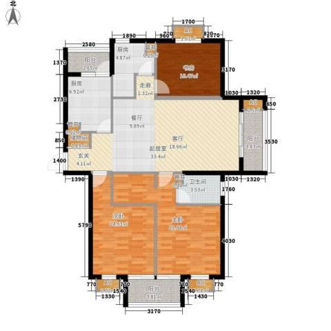 奥园印象高迪3室0厅1卫2厨123.62㎡户型图