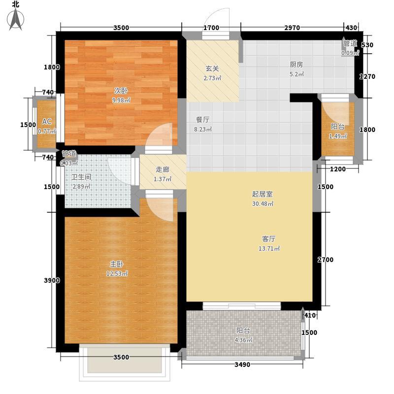 铭城国际社区88.60㎡10、11、12号楼B户型2室2厅