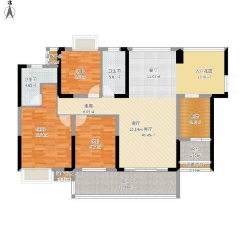 紫园3室1厅2卫1厨172.00㎡户型图