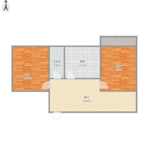 农科院二宿舍2室1厅1卫1厨99.00㎡户型图