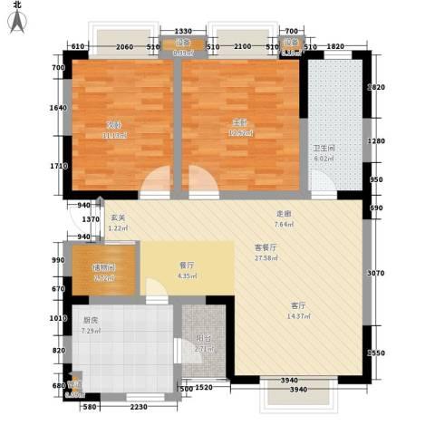 和谐家园2室1厅1卫1厨84.00㎡户型图