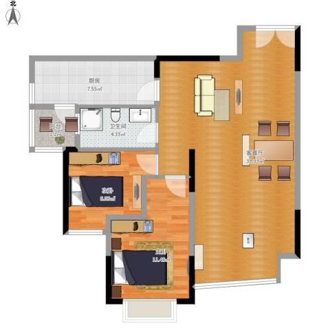 顺峰山语2室1厅1卫1厨101.00㎡户型图