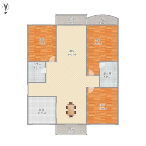 银河湾3室1厅2卫1厨233.00㎡户型图
