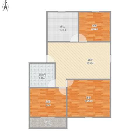 罗城路700弄小区3室1厅1卫1厨107.00㎡户型图
