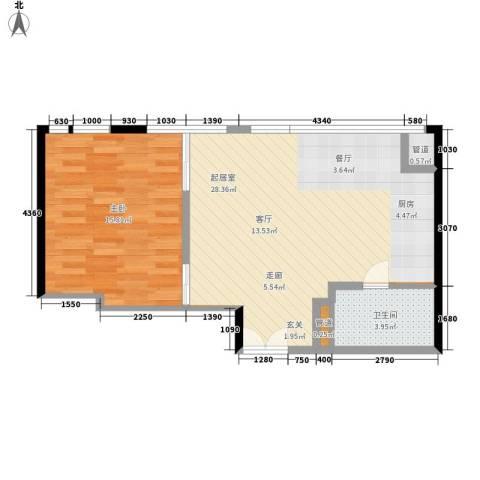 华贸国际公寓1室0厅1卫0厨64.00㎡户型图
