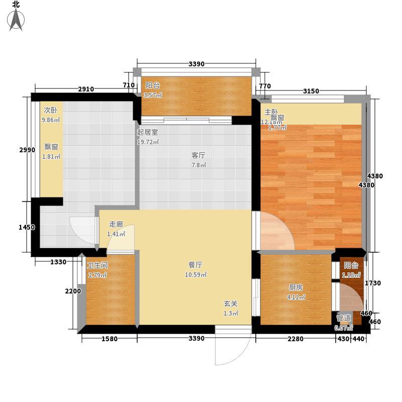 鹏达·河岸轩74.00㎡鹏达河岸轩A户型2室2厅