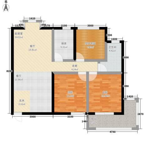 祥安东城国际花园2室0厅1卫1厨119.00㎡户型图