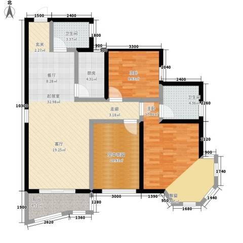 祥安东城国际花园2室0厅2卫1厨126.00㎡户型图