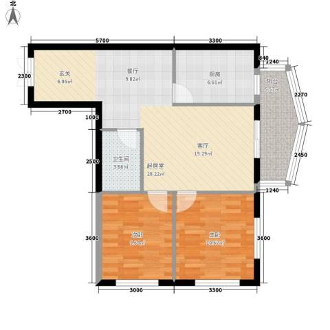 鑫隆帝豪2室0厅1卫1厨82.00㎡户型图