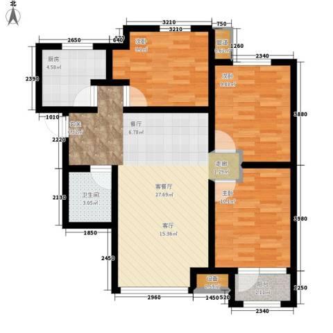 天成佳境3室1厅1卫1厨96.00㎡户型图
