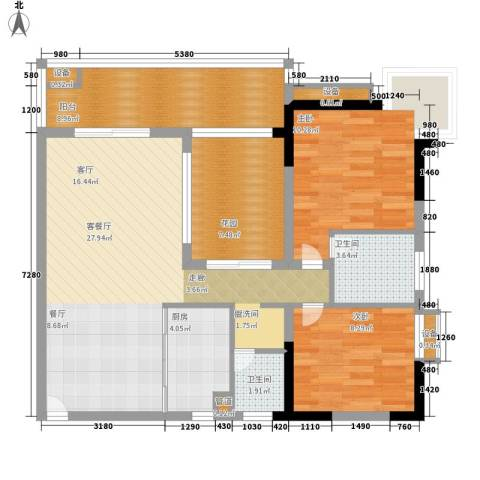新东福花园2室1厅2卫1厨180.00㎡户型图