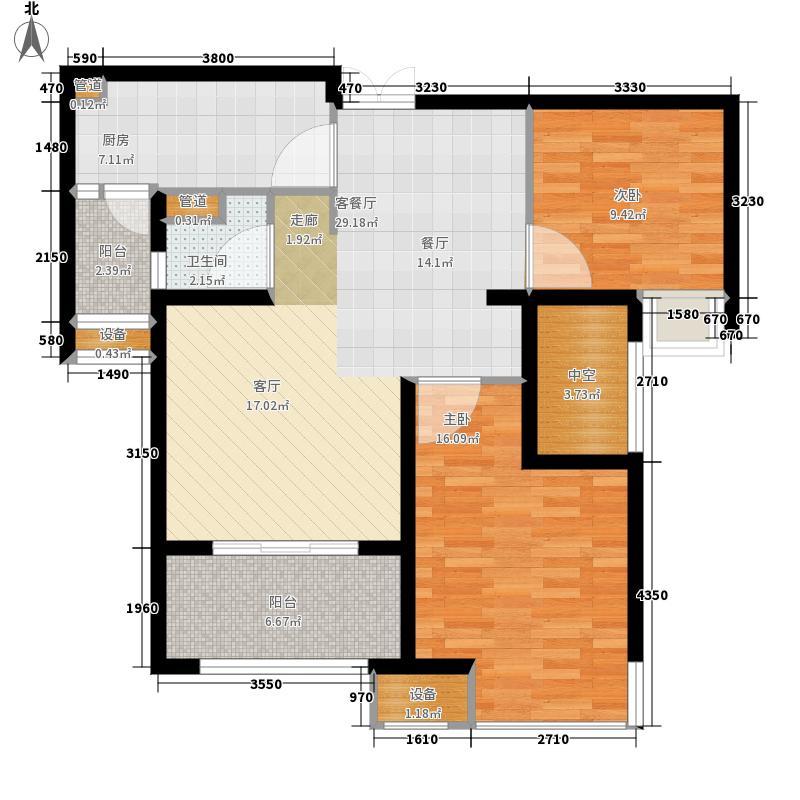 金地自在城91.00㎡B3-2户型2室2厅