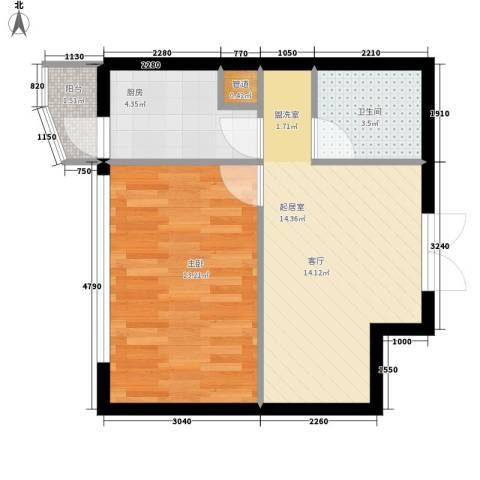 鑫隆帝豪1室0厅1卫1厨58.00㎡户型图