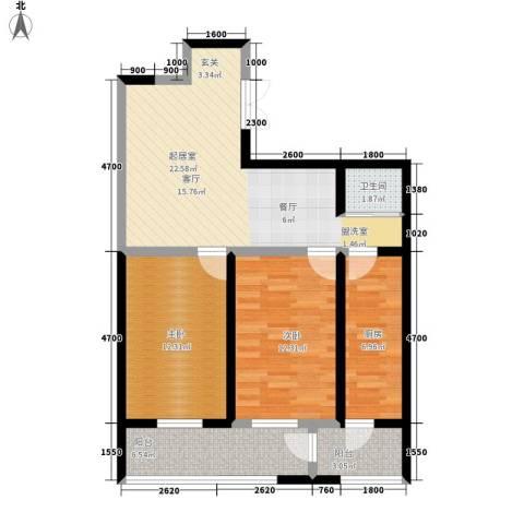 鑫隆帝豪2室0厅1卫1厨79.00㎡户型图