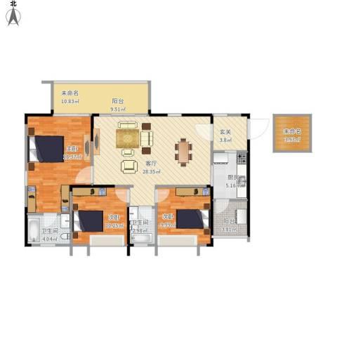 鸥鹏凤凰国际新城3室1厅2卫1厨138.00㎡户型图