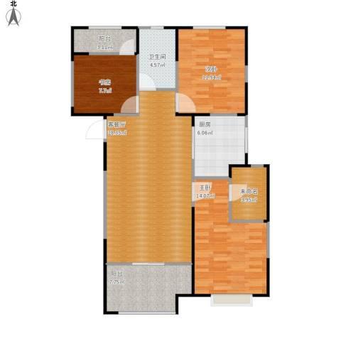 红豆人民路九号3室1厅1卫1厨118.00㎡户型图