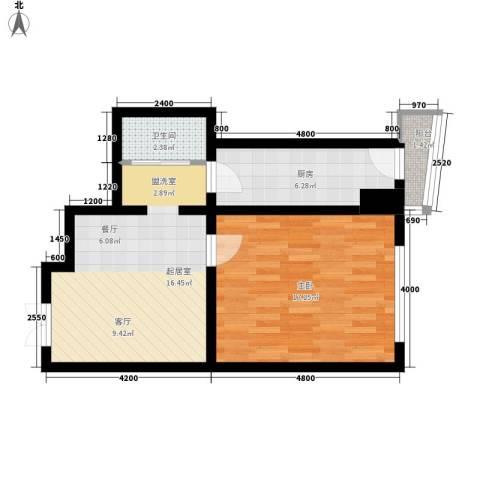 鑫隆帝豪1室0厅1卫1厨62.00㎡户型图