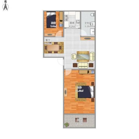 中德亚运村2室1厅1卫1厨91.00㎡户型图