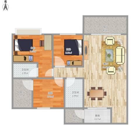 城东名门3室1厅2卫1厨77.00㎡户型图