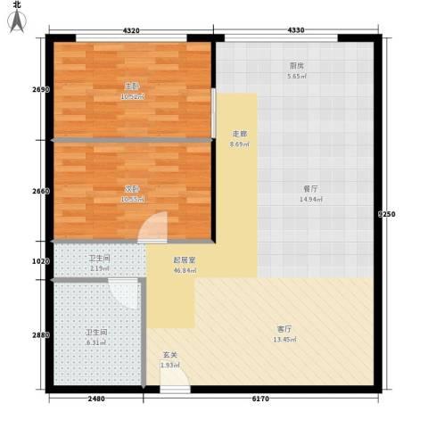 印象天心2室0厅1卫0厨80.00㎡户型图