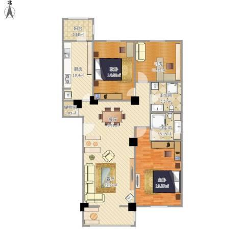 龙跃苑东四区3室1厅2卫1厨154.00㎡户型图