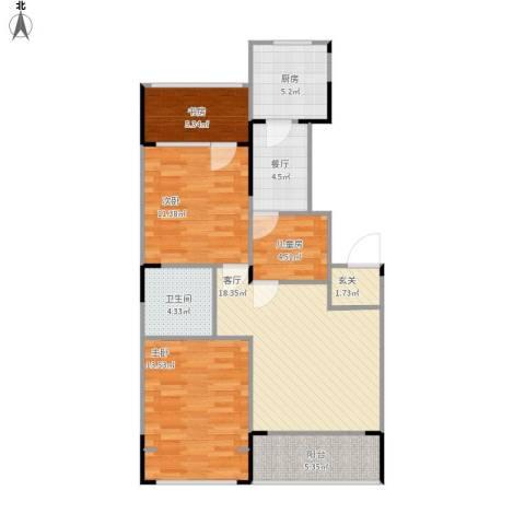 澳海澜庭4室2厅1卫1厨101.00㎡户型图