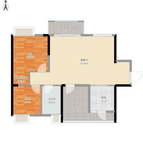 鼎峰花漫里2室1厅1卫1厨102.00㎡户型图