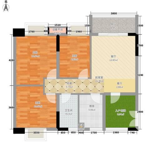 都市兰亭3室0厅1卫1厨95.00㎡户型图