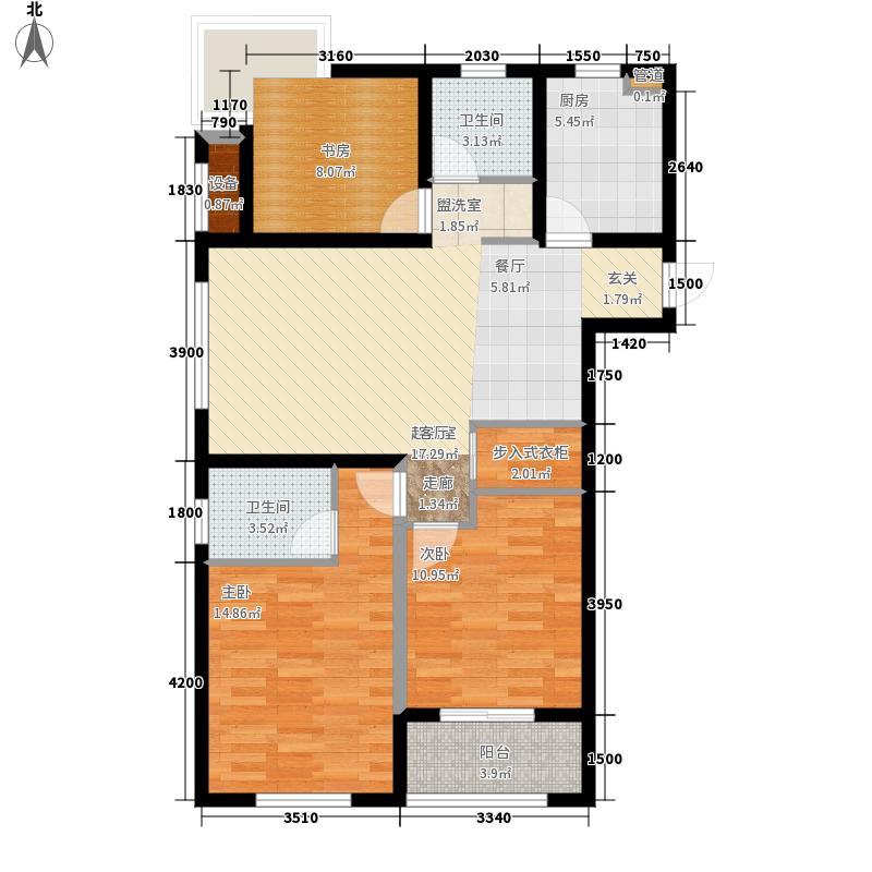 泰盈八千里113.88㎡二期F3居室户型3室2厅