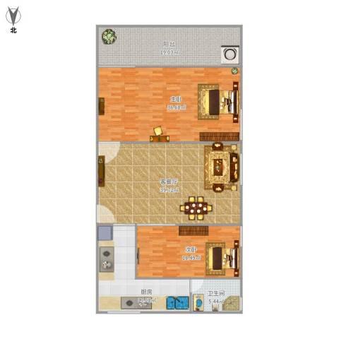 莲前西路水务宿舍2室1厅1卫1厨180.00㎡户型图