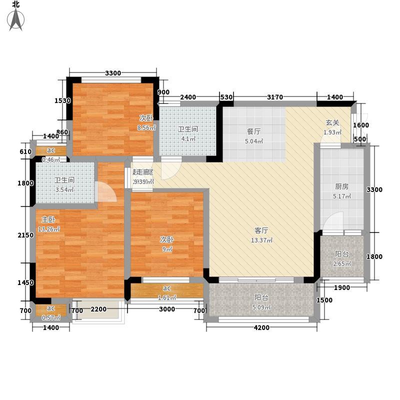 渝水坊二期103.66㎡一期2/3/4号楼标准层A户型