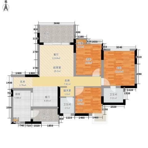 金科云湖天都3室0厅2卫1厨103.00㎡户型图