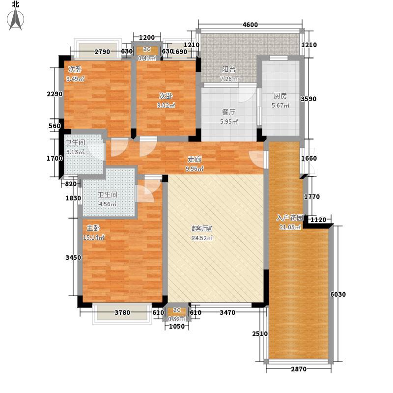 渝水坊二期107.84㎡一期8号楼1单元2层1号房3室户型