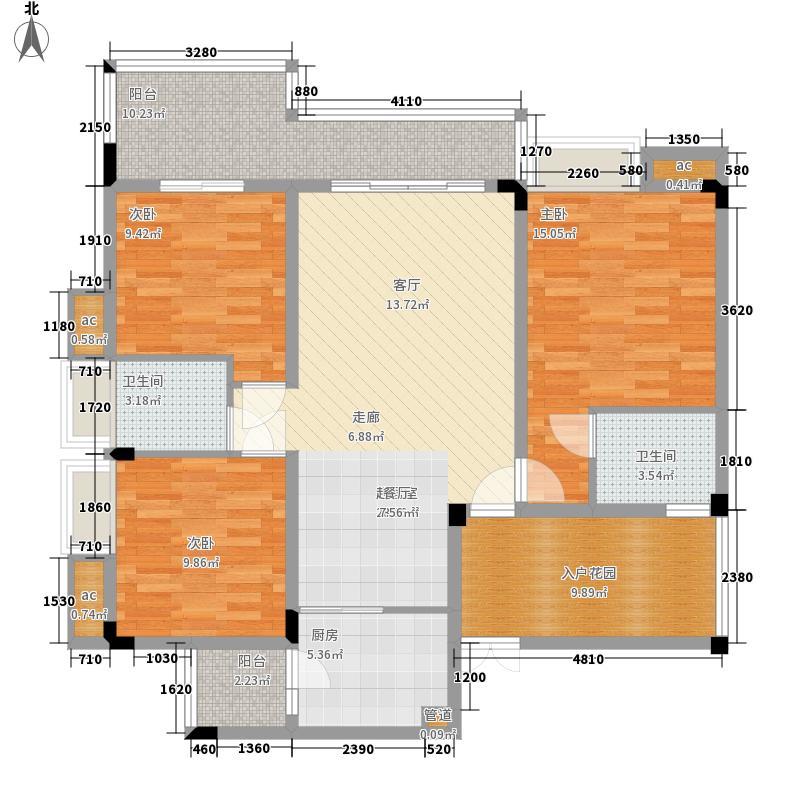 渝水坊二期91.60㎡一期4号楼1单元3层2号房3室户型