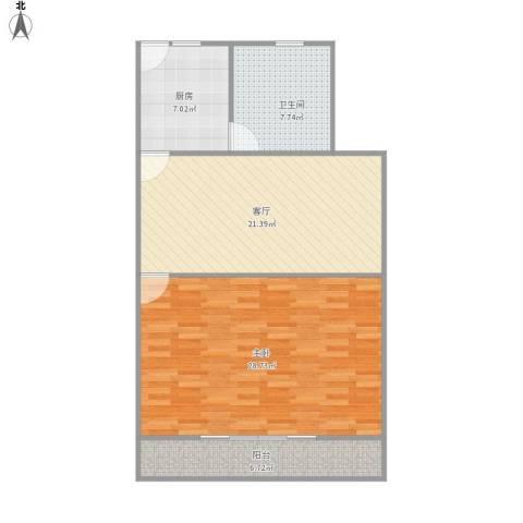 翔殷路491弄小区1室1厅1卫1厨96.00㎡户型图