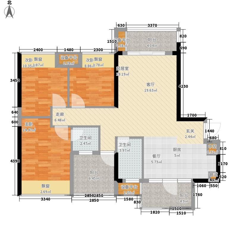昌泰水立方111.90㎡1-1#楼01户型3室2厅