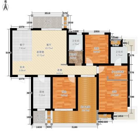 鸿城・铂兰湾3室0厅2卫1厨130.00㎡户型图