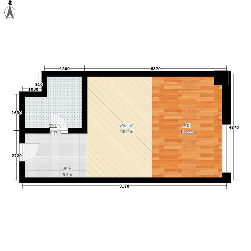 阳光国际公馆1室1厅1卫1厨42.38㎡户型1室1厅1卫