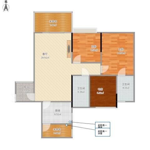 保利心语花园别墅3室1厅2卫1厨99.38㎡户型图