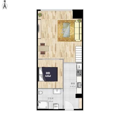 i立方1室1厅1卫1厨65.00㎡户型图