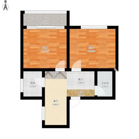 景芳三区2室1厅1卫1厨69.00㎡户型图