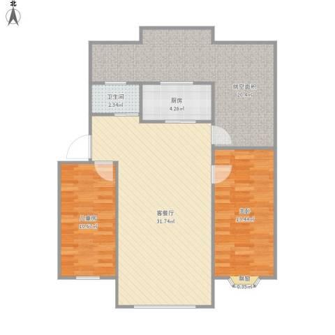 润泽园2室1厅1卫1厨111.00㎡户型图