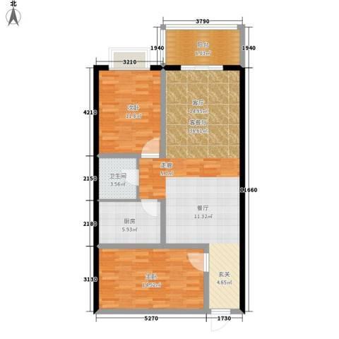 龙洲新城2室1厅1卫1厨111.00㎡户型图
