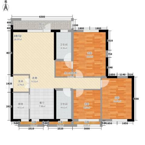 莲花湖锦绣江山3室0厅2卫1厨140.00㎡户型图