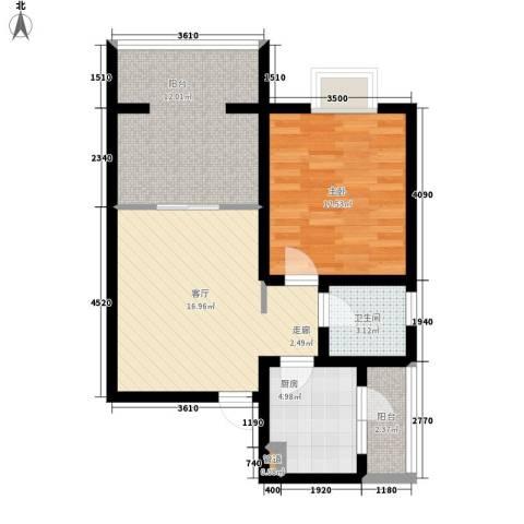 学府芳邻1室1厅1卫1厨61.00㎡户型图