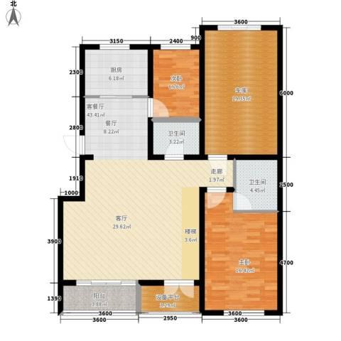 盈胜毓园2室1厅2卫1厨151.00㎡户型图