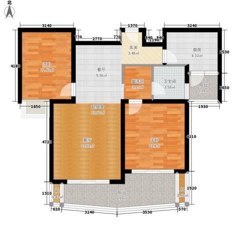 鸿城・铂兰湾2室0厅1卫1厨99.00㎡户型图