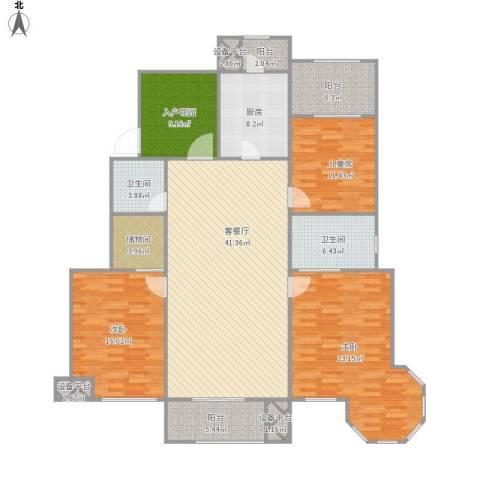 金科廊桥水岸3室1厅2卫1厨188.00㎡户型图