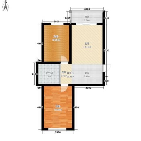 607地质家园2室1厅1卫1厨82.00㎡户型图