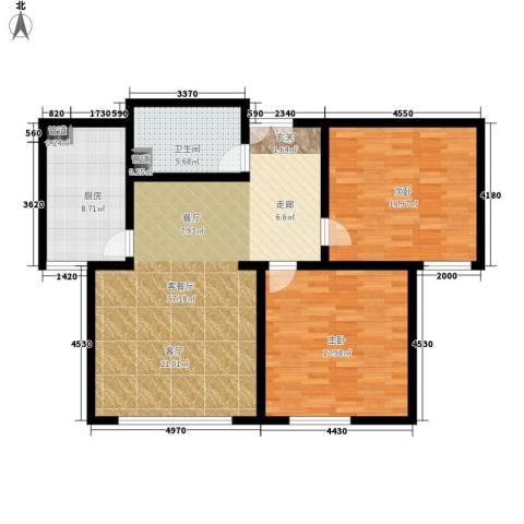 东方文苑2室1厅1卫1厨98.00㎡户型图